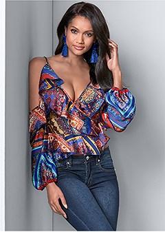 cold shoulder wrap top