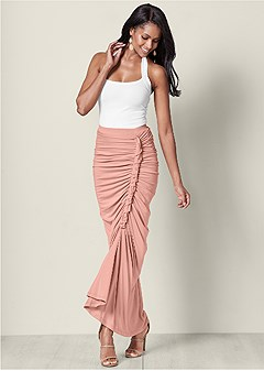 ruching detail maxi skirt