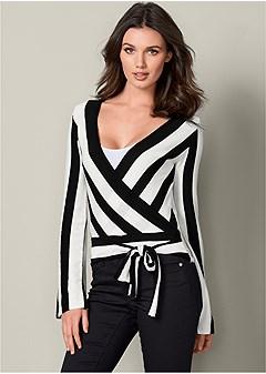 striped wrap sweater