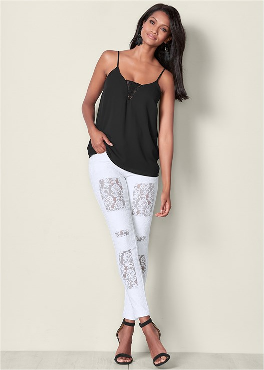 LACE FRONT JEANS,LACE INSET SLEEVELESS TOP,HIGH HEEL SANDALS,TASSEL EARRINGS,MID RISE BRIEFS