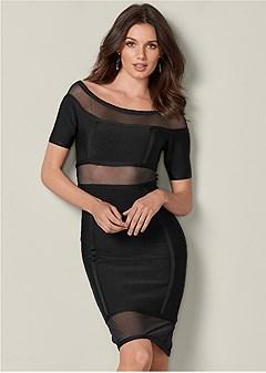 slimming mesh detail dress