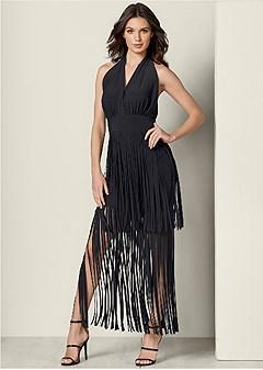 fringe detail maxi dress