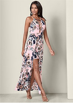 lace up detail maxi dress
