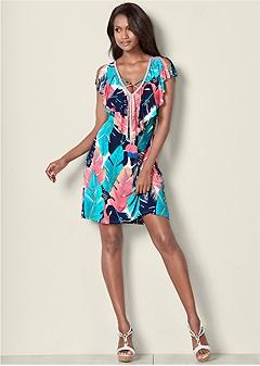 tassel detail print dress