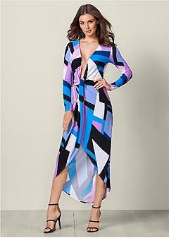 plunging printed dress