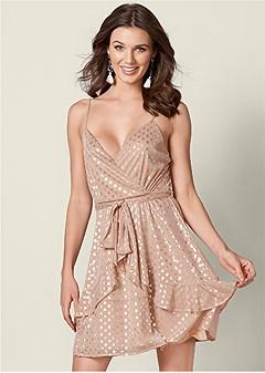 foil detail polka dot dress
