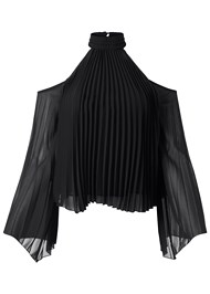 Alternate View Pleated Cold Shoulder Top