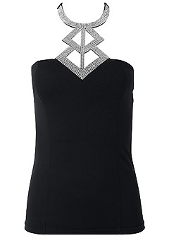 plus size embellished neck trim top
