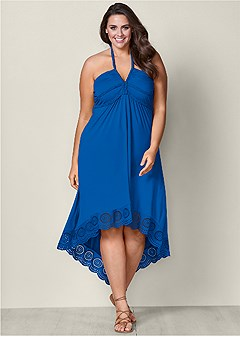 plus size high low halter dress
