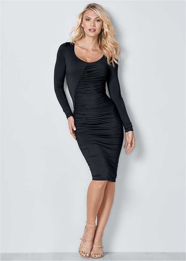 Ruched Detail Midi Dress,Confidence Smooth Corset,Fold Over Boot