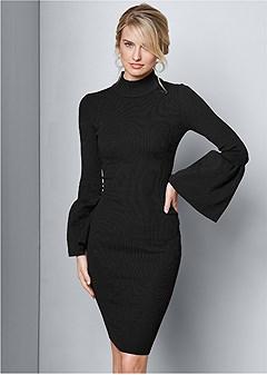 sleeve detail sweater dress
