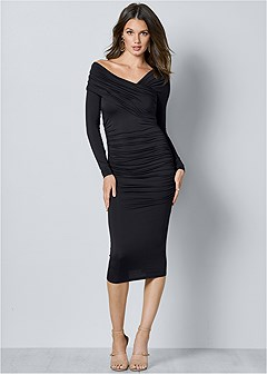 drape detail bodycon dress
