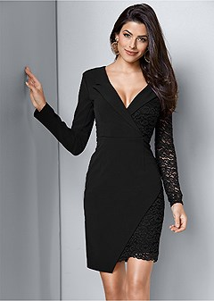 lace surplice detail dress
