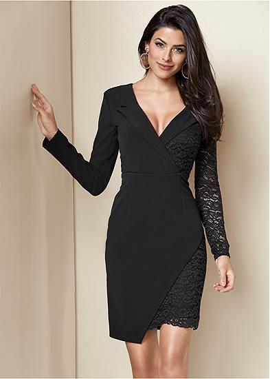 Lace Surplice Detail Dress