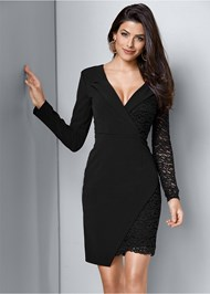 Front View Lace Surplice Detail Dress