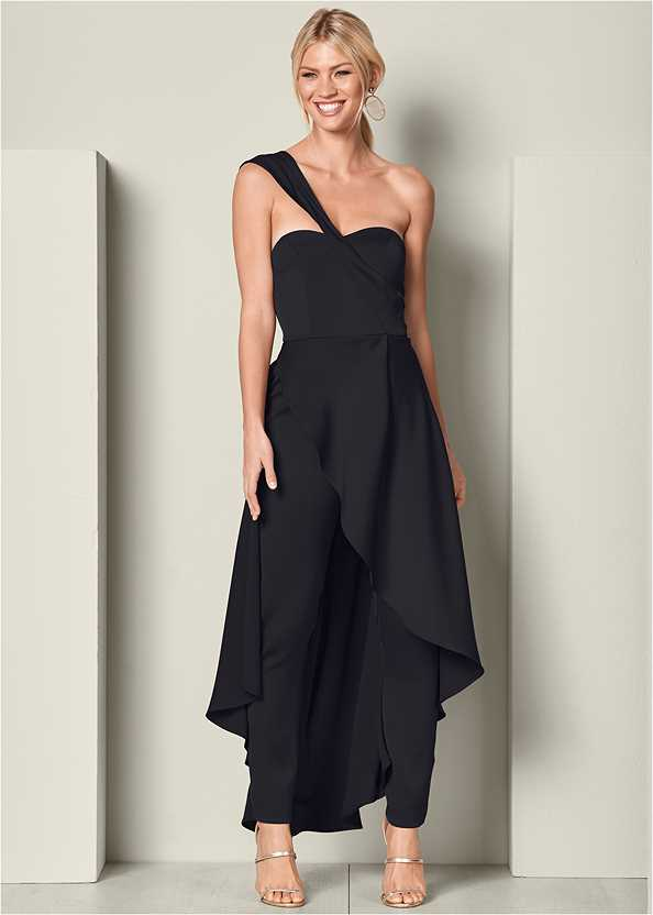 One Shoulder Jumpsuit,High Heel Strappy Sandals,Steve Madden B Corina
