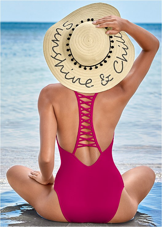 STRAPPY RACERBACK ONE-PIECE,TERRY LACE UP DRESS,STRAW FRINGE HAT