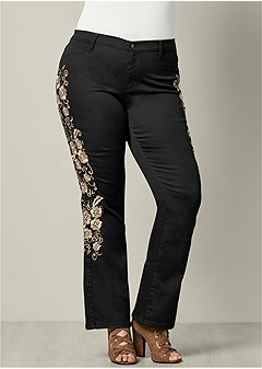 148bf4979e5 plus size embroidered boot cut jeans