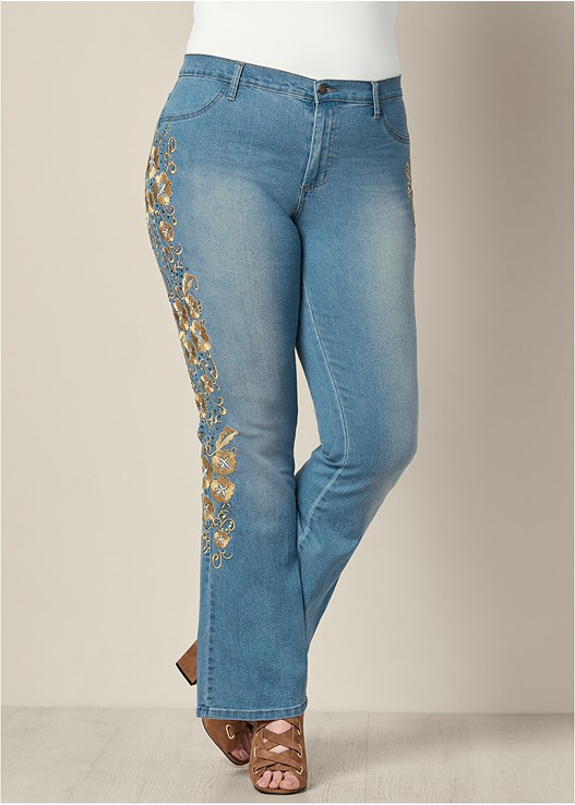 EMBROIDERED BOOT CUT JEANS,TIE FRONT BUTTON UP TOP,PEEP TOE LACE UP BOOTIE