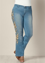 Front View Embroidered Bootcut Jeans