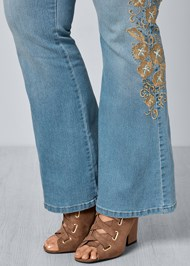 Alternate View Embroidered Bootcut Jeans