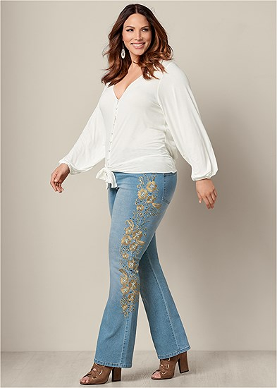 Plus Size Embroidered Bootcut Jeans