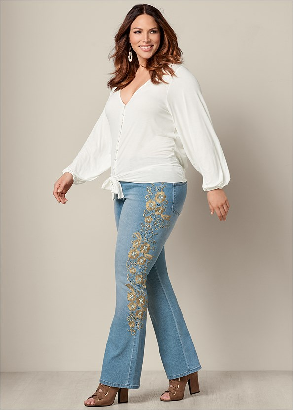 Embroidered Bootcut Jeans,Tie Front Button Up Top,Beaded Drop Earrings