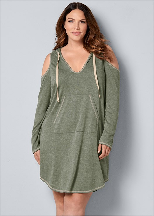b356541a9a5 Olive COLD SHOULDER LOUNGE DRESS from VENUS