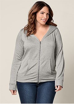 plus size zip up hoodie lounge jacket