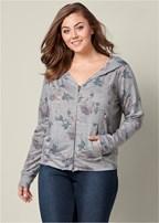 plus size zip up hoodie lounge jacket