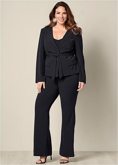 Plus Size Belted Pant Suit Set