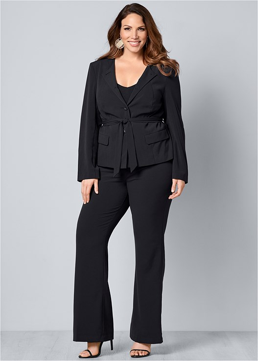 BELTED PANT SUIT SET,BASIC V-NECK TANK,HIGH HEEL STRAPPY SANDALS,HIGH WAIST STRETCH BRIEF