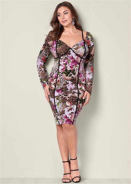 FLORAL BODYCON DRESS,HIGH HEEL STRAPPY SANDALS,PEARL DROP EARRINGS