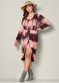 plus size high low tie dye dress
