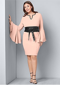 plus size sleeve detail belted dress