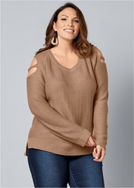 Front View Cut Out Sleeve Sweater