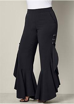 plus size lace up ruffle pants