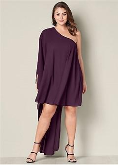 plus size one shoulder dress