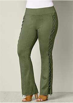 plus size lace up boot cut pants