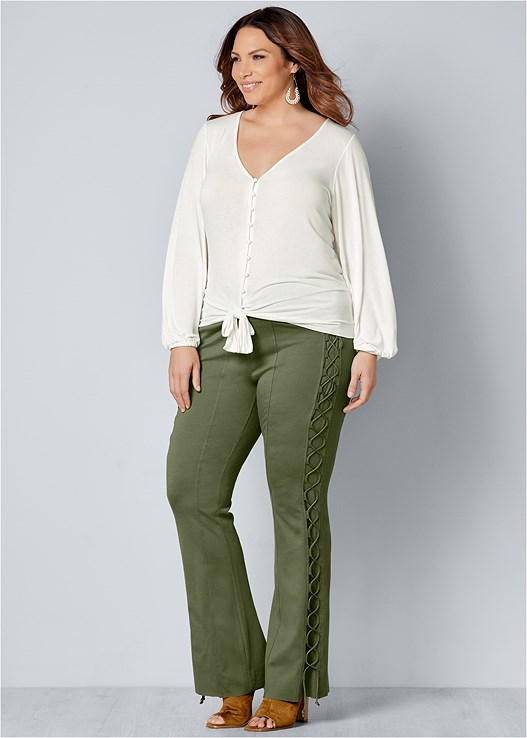 LACE UP BOOT CUT PANTS,TIE FRONT BUTTON UP TOP