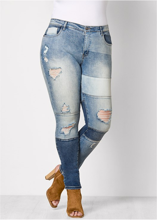 c7818c417f Plus Size DISTRESSED PATCHWORK JEANS in Medium Wash ...