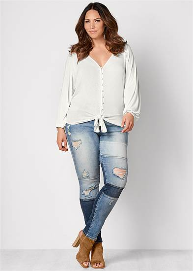 Plus Size Distressed Patchwork Jeans