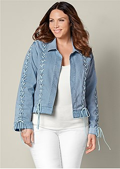 plus size lace up detail jean jacket