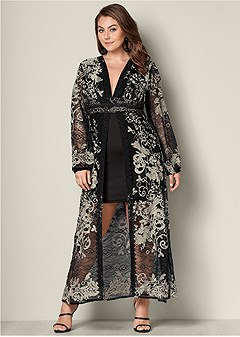 plus size embroidered long dress