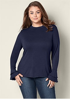 plus size ruffle sleeve mock neck top