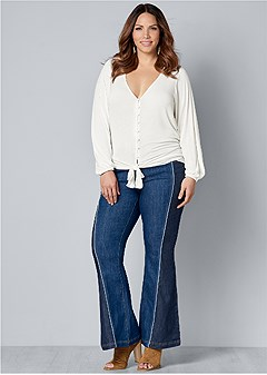 plus size two tone jeans