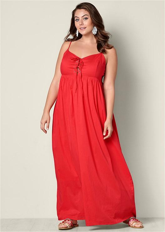 Plus Size Lace Up Maxi Dress Venus