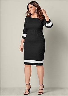 plus size color block sweater dress