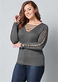 Front View Cut Out Sleeve Detail Top