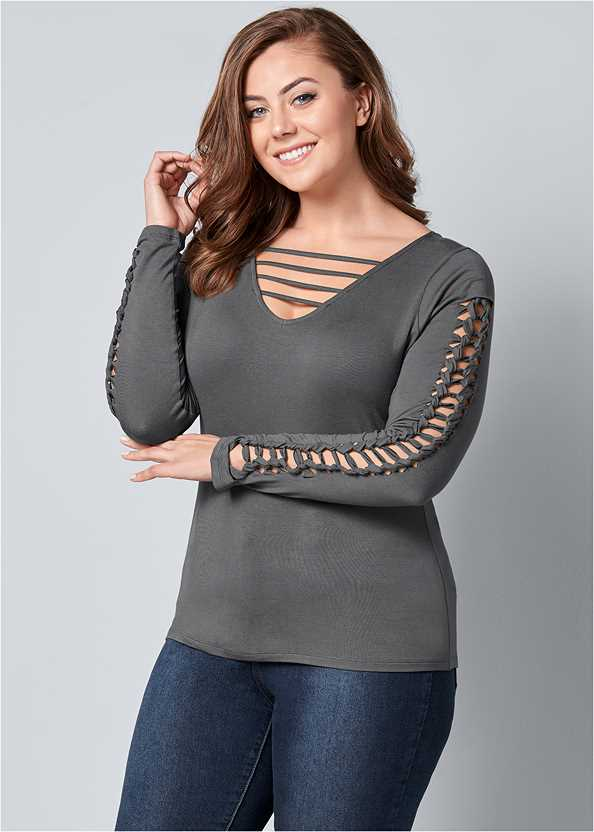 Cut Out Sleeve Detail Top,Mid Rise Color Skinny Jeans,Wrap Stitch Detail Booties